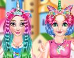 Unicorn Kızların Renkli Saçları